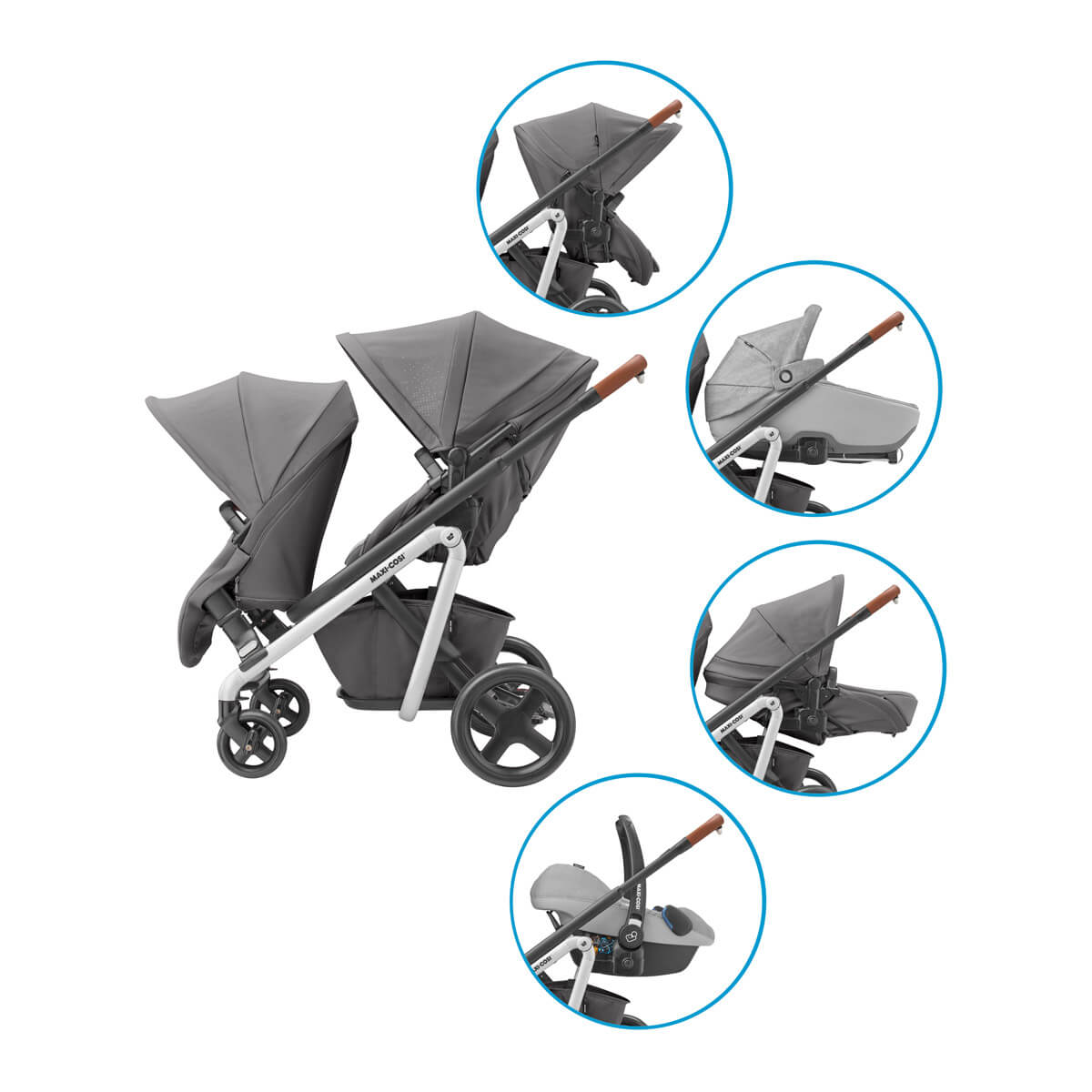 Five confortable positions with the Maxi-Cosi Lila Stroller Duo Kit